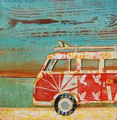 BEACH ART PRINT, vintage volkswagen van print, vw art, beach art, beach decor, summer gift, mixed media painting, coastal decor, All Sizes