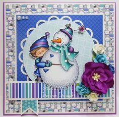 "Card featuring ""Snow Buddies!"" by Kraftin' Kimmie Stamps. Made by Deborah Deruyck"