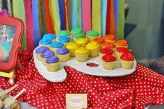 "another example of the cupcake idea - Photo 2 of Chevron Rainbow Art / Birthday ""Madelyn's Rainbow Art Party"" Artist Birthday Party, 9th Birthday Parties, Birthday Ideas, Art Themed Party, Art Party, Party Mottos, Rainbow Parties, Rainbow Birthday, Cupcake Party"