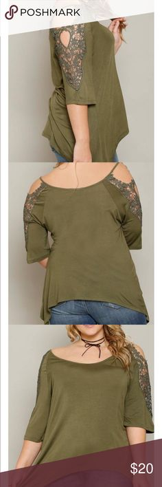 Cold shoulder top with crochet insert sleeves Beautiful top. Never worn. Daughter does smoke in her home. Tops Blouses