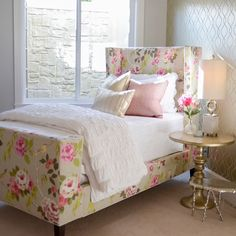 "@gatehouseno1's photo: ""Our designer-favorite @leeindustries floral fabric on this upholstered bed is almost too much """
