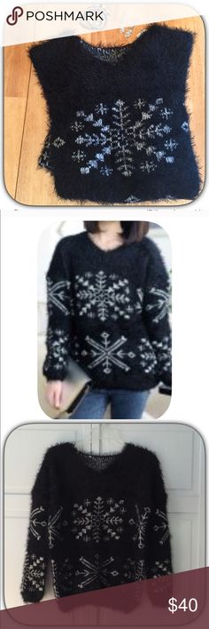 NWT Beautiful Fuzzy Black Snowflake Sweater This sweater is super soft and fuzzy! It is nice and warm! And really pretty! I love the winter design! All items in the pic's are available in my closet! Boutique Sweaters Crew & Scoop Necks
