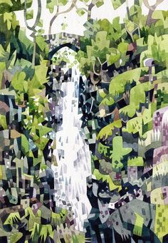 Image of Aira Force waterfall print ©Jonathan Edwards Watercolor And Ink, Watercolour Painting, Watercolors, Les Cascades, Visual Development, Retro, New Art, Illustrators, Concept Art