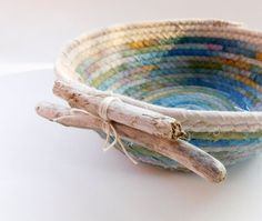 Driftwood Coiled Basket Driftwood Beach Decor Hand by LauraLoxley