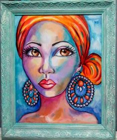 Yvette Andino Art, oil, woman with scarf, African girl vintage frame African Girl, African Beauty, Painting Of Girl, Girl Paintings, Original Paintings, Original Art, Rooster Painting, Mother Art, Fantasy Paintings