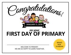 2016 First Day of Primary Certificates for the Sunbeams