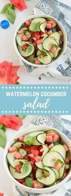 Watermelon Cucumber Salad - Just 5 ingredients. Watermelon cucumber basil and coconut water will hydrate and make you feel refreshed from the inside out. Easy Salads, Healthy Salad Recipes, Summer Salads, Whole Food Recipes, Healthy Snacks, Vegan Recipes, Salad Recipes 5 Ingredients, Blender Recipes, Jelly Recipes