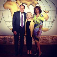 Behind-the-scenes photo: Carole King stops for a photo with Charlie and Gayle in front of our Cronkite map! All Three of these people would be amazing to have at the table. Studio 57, Carole King, Scene Photo, Party Guests, Behind The Scenes, Laughter, Map, Dinner, Amazing