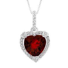 January Garnet Birthstone - Beautiful garnet heart-shaped necklace - Malak Jewelers