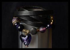 Bracelet wrap 5 tours. Coeur les de verre Murano par madamebrigitte