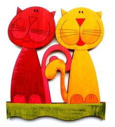 Fun+hand+painted+Cats+Magnet+or+Peel+and+stick+by+StripedCats,+$4.99