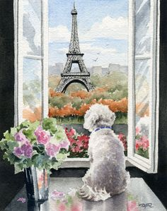 """Bichon Frise in Paris"". This is a professional, archival quality open edition Bichon Frise art print. from an original watercolor painting by artist David J. The detail and color are outstanding. Frise Art, Paris Kunst, Art Parisien, Tour Eiffel, Dog Art, Painting & Drawing, Watercolor Paintings, Watercolor Paper, Abstract Watercolor"