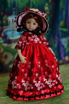 """SOLD - """"Be My Valentine"""" Regency Dress, Outfit for 13"""" Dianna Effner Little Darling #LuminariaDesigns"""