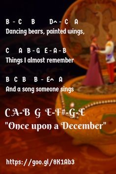 letter notes for 'Once upon a December' from the film Anastasia and sung by Deana Carter  - good for flute, piano, recorder, anything :) #easyflute