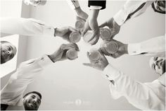 Groomsmen  |  Bridal party  |  Cheers  |  Getting ready  |  Wedding day  |  Black and white  |  Aislinn Kate Photography