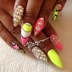 black pink n yellow n white with iridescent bling Stiletto Nails by Regina Wow Nails, Sexy Nails, Fancy Nails, Bling Stiletto Nails, Pointy Nails, Fabulous Nails, Gorgeous Nails, Nagel Bling, Neon Nail Designs