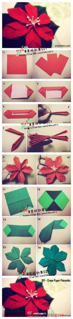Gorgeous origami poinsettia