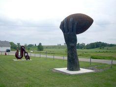 Giant football sculpture