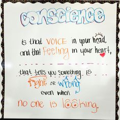 Daily quote: conscience Middle School Posters, School Resources, Sign Quotes, Daily Quotes, The Voice, Education, Signs, Feelings, High School Posters