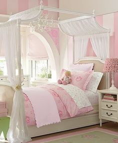 pink striped room for girls
