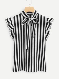 Floerns Women's Sleeveless Bow Tie Striped Summer Chiffon Blouse Top Black and White L Sweater Shirt, T Shirt, Donia, Shirt Print Design, Cute Tops, Black Tops, Black White, Blouses For Women, Women's Blouses