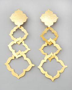 Herve Van Der Straeten. Alhambra Drop Clip Earrings. 24K gold plated brass earrings. $550.