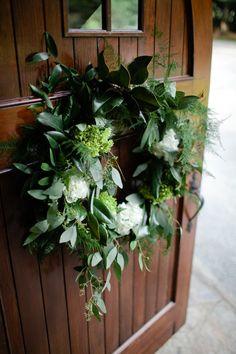 #wreath  Photography: Meredith Perdue - meredithperdue.com/ Wedding Planning + Design: Rebecca Rose Events - rebeccaroseevents.com Floral Design: Amy Lynne Originals - amylynneoriginals.com  Read More: http://www.stylemepretty.com/2012/12/27/classic-north-carolina-wedding-from-meredith-perdue-inkspot-crow-films/