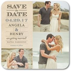 Sparrows and Arrows - Save the Date Coasters in Storm or Chambord | Sarah Hawkins Designs