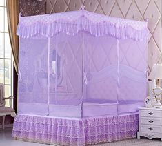 HC Summer autumn bedroom solid stainless steel flat top zipperstyle Princess Palace printing nets  purple  180200 white paint bracket -- Details can be found by clicking on the image.
