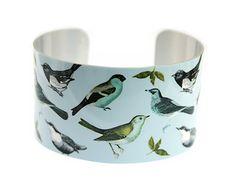 Cuff bracelet women's bangle woodland bird lovers by DeCumiDesigns