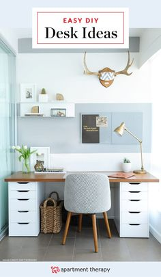 Quick Easy DIY Desk Ideas - Projects | Apartment Therapy Decor, Diy On A Budget, Furniture, Diy Desk, Transitional Home Decor, Home Desk, Transitional Furniture, Under Desk Storage, Home Decor Styles