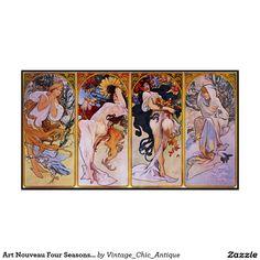 Art Nouveau Four Seasons Vintage Art Poster