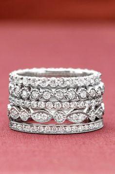 Antique Eternity Diamond Ring Stack ♥ L.O.V.E.