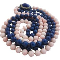 Vintage Costume Jewelry - Fabulous Long D'Orlan Simulated Angelskin Coral & Lapis Lazuli Necklace