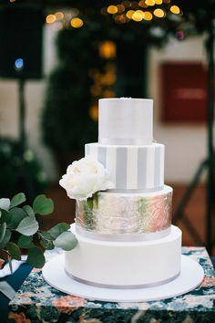 Metallic Wedding Cakes via Belle The Magazine