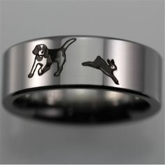 Tungsten Carbide Beagle and rabbit ring. The ultimate ring for anyone who loves Beagles, and hunting! Beagle Hunting, Rabbit Hunting, Triangle Earrings, Stud Earrings, Hunting Wedding Rings, Combat Knives, Tungsten Carbide, Dog Accessories, Laser Engraving