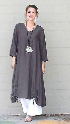 Et 'Lois USA Lino Vestido Largo Estilo Túnica Venus Detalle de cordón S M L XL Negro