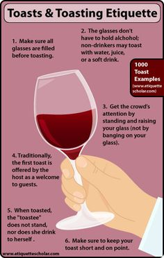 """Six Toasting Etiquette Tips - Toasting etiquette rules everyone should know before toasting."""" alt=""""6 Toasting Etiquette Tips."""