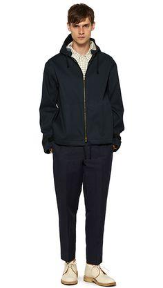 MEN SPRING SUMMER 15 - Black cotton jacket (MHL), blue / ecru cotton shirt, navy cotton linen trouser, off white canvas chukka boot