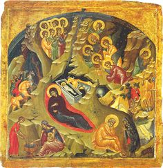 """""""Nativity"""" by Russian iconographer Saint Andrei Rublev (14th cent)"""