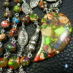 ♥ Long Stunning Multicolor Sea Sediments Jasper Pendant & Plated Silver Necklace