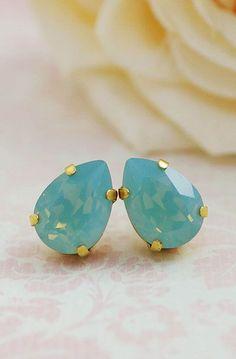 Mint Opal Swarovski Crystal Tear drops