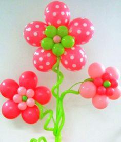 Fun balloon display. Love the stems & the polka-dots!