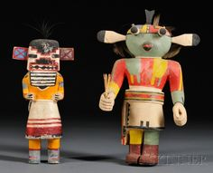Two Hopi Carved Wood Kachinas, one long-billed kachina, ht. to 10 in.
