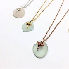 White Yellow or Rose Gold Plated Sharks Tooth Sea Glass Necklace