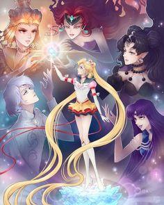 Eternal Sailor Moon and her enemies / Sailor Galaxia, Queen Beryl, Queen Nehelenia, Prince Diamond and Mistress 9 http://channel-square.deviantart.com/