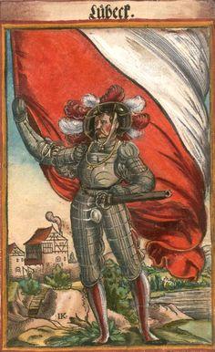 """Lübeck [Lübeck] (f°40) -- Koebel, Jacob, """"Wapen des heyligen römischen Reichs teutscher Nation"""", Franckfurth am Main, 1545 [BSB Ms. Rar. 2155]"""