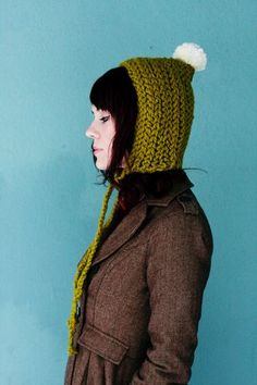 This hat may look hard to make, but it is actually just two rectangles that were knit/crochet and sewed together!
