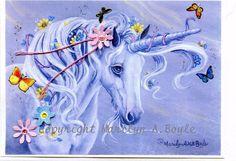 BLANK ART CARD  Unicorn embellished 3d flowers by OriginalSandMore