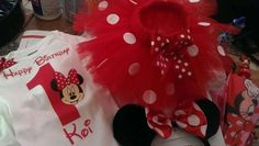 Cute birthday outfit at a Minnie Mouse birthday party! See more party planning ideas at CatchMyParty.com!